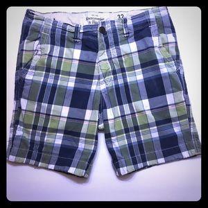 Abercrombie & Fitch Plaid Button Fly Shorts Sz 32
